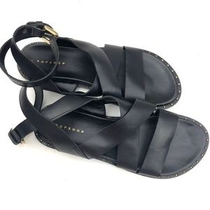 TOPSHOP Black Thick Strap Gladiator Sandals
